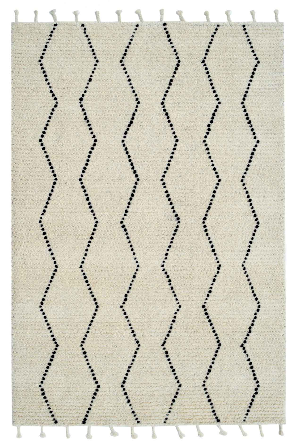 Dynamic Area Rugs Celestial 6950-190 Ivory/Black Moroccan Design