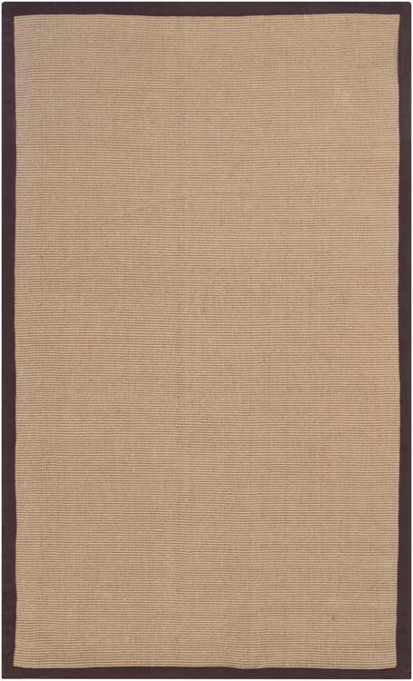 Sisal Area Rug with Brown Border