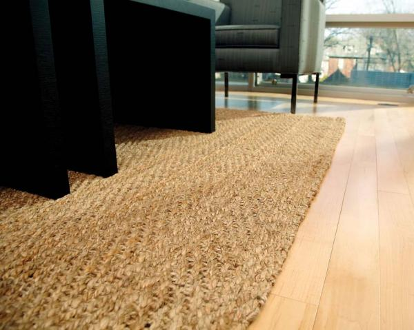 Anji Mountain River Sand Jute Area Rug Room Shot