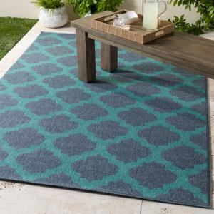 Outdoor Olefin Area Rug in Charcoal and Teal